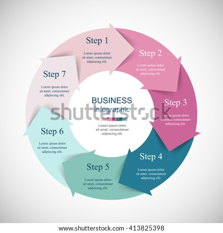 Infographics step by step. Universal abstract element of chart, graph, diagram with 7 steps, options, parts, processes. Vector business template for presentation and training. - stock vector