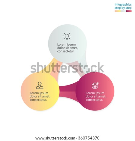Infographics step by step with 3 connected elements. Diagram, chart, graph with 3 steps, options, parts, processes. - stock vector