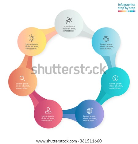 Infographics step by step with 7 connected elements. Diagram, chart, graph with 7 steps, options, parts, processes. - stock vector