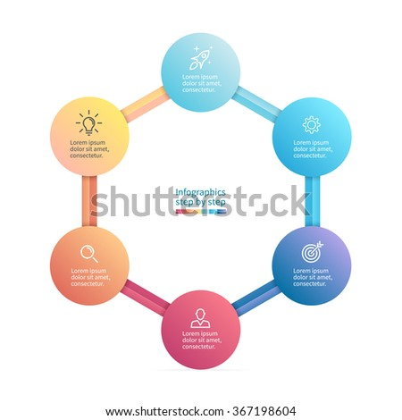 Infographics step by step with polygonal structure. Hexagon chart, diagram with 6 steps, options, parts, processes. Vector business template. - stock vector