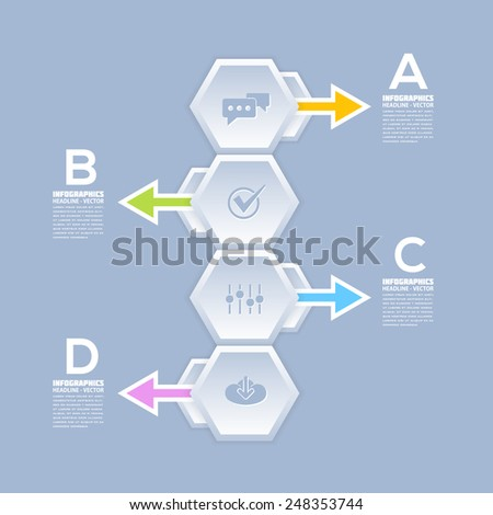 Infographics Template and Arrow Web Elements - Business, Marketing Step or Choose Concept Vector Design - stock vector