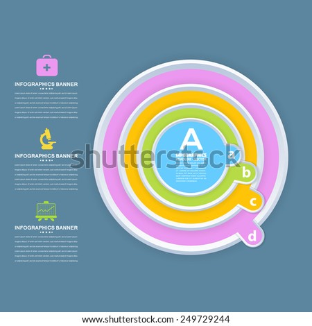 Infographics Template and Round Web Elements - Business, Marketing Step or Choose Concept Vector Design - stock vector