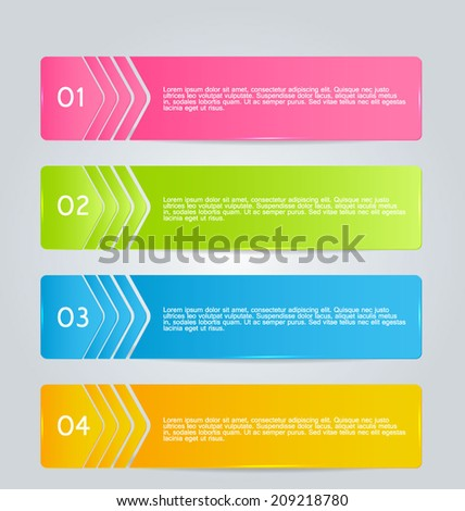 Infographics template design for website banners, business, brochure. Editable vector illustration. Glass style. Pink, blue, orange green, bright colors.  - stock vector