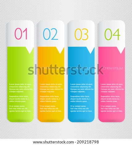 Infographics template design for website banners, business, brochure. Editable vector illustration. Vertical. Pink, blue, orange green, bright colors. - stock vector