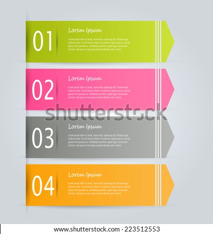 Infographics template for business, education, web design, banners, brochures, flyers. Green, pink, grey and orange colors. Vector illustration.