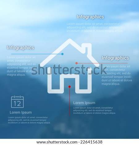 Infographics template for topic of home on dark background. Icon illustration for presentation, web site or print. Landscape background. - stock vector