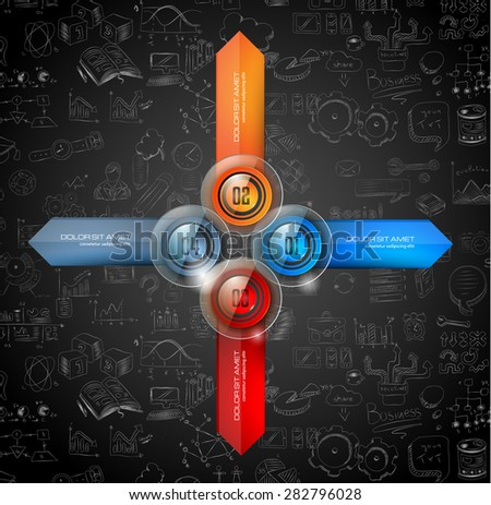 Infographics template with 4 choices layout connected to the center. Conceptual design made to chose the best idea or item between 4 choice available. - stock vector