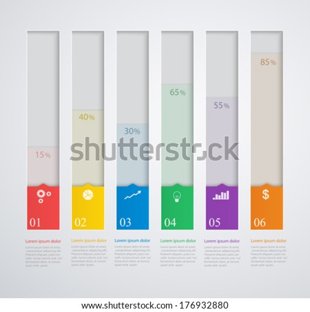 Infographics template with stepwise structure, 3d columns of growth - stock vector