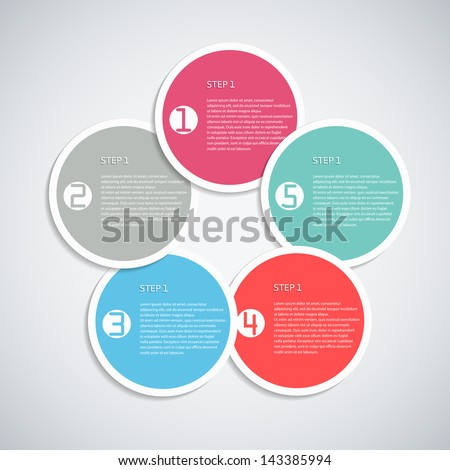 Infographics template with with five circular banners. Vector illustration. - stock vector