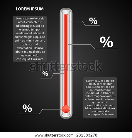 infographics the thermometer with scales as a percentage - stock vector