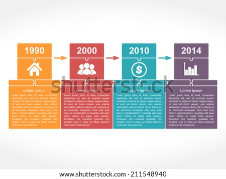 Infographics timeline design template with place for dates, icons and text, puzzle style, vector eps10 illustration - stock vector