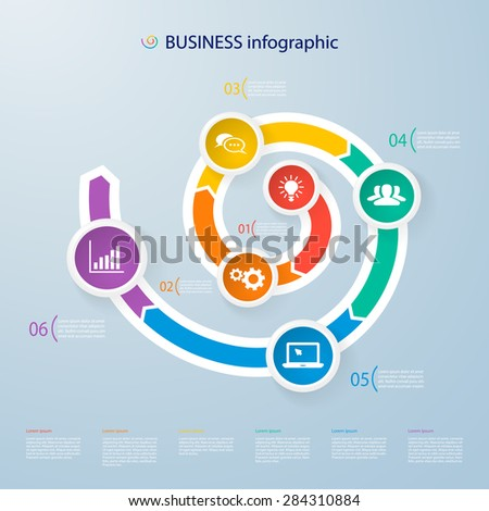 Infographics timeline template with realistic colorful circles for 6 steps and icons. Can be used for workflow layout, diagram, number options, step up options, web design, infographics, presentations - stock vector