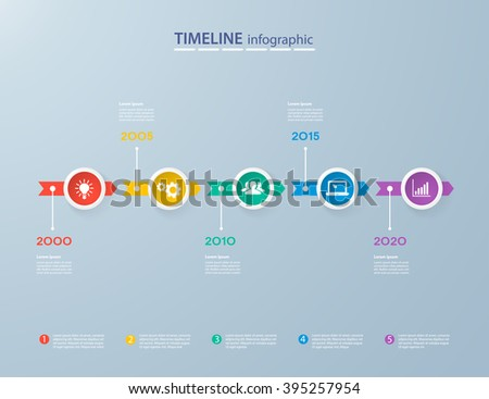 Timeline Infographics Design Template Four Elements Stock Vector