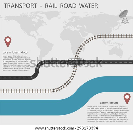 Infographics Transport for Rail Road and Water - All objects grouped separately and easy to edit, EPS10 - stock vector