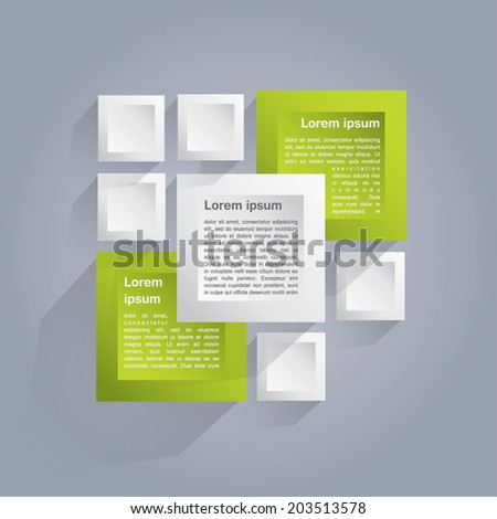 Infographics vector background with white and green cubes - stock vector