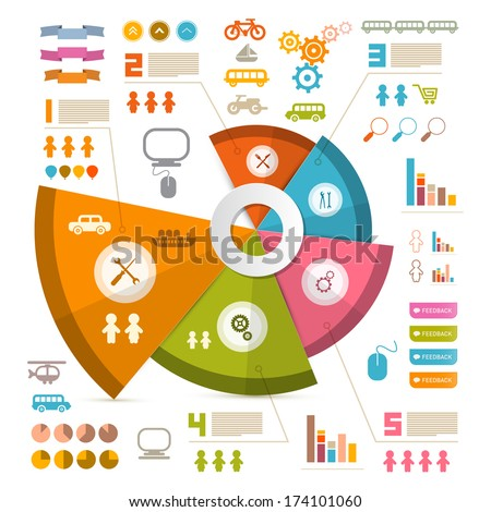 Infographics Vector Layout with Icons - Elements - stock vector