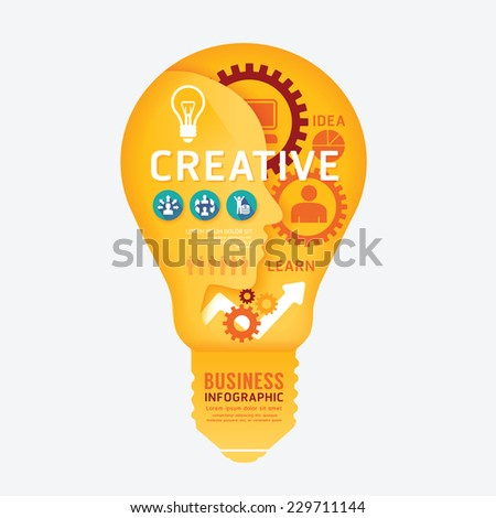 infographics vector light bulb design diagram line style template - stock vector