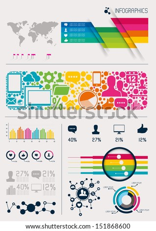 Infographics vectors, charts and infomation elements - stock vector