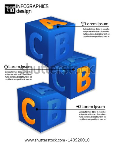 Infographics web design for your business ideas. Modern cube template. A, B, C options. Vector illustration. - stock vector