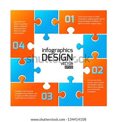 Infographics web design. Modern puzzle template. Numbered options. Vector illustration - stock vector