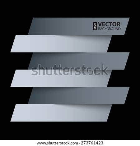 Infographics white and grey paper rectangle banners with shadows on black background. RGB EPS 10 vector illustration