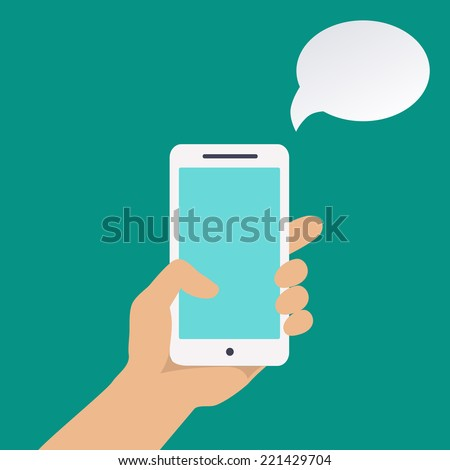Infographics with a hand holding Smartphone  - stock vector