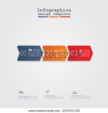 Infographics with arrows, elements and icons. Vector illustration - stock vector