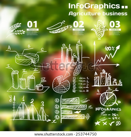 Infographics with blurry photographic background on the topic of agricultures business charts - stock vector
