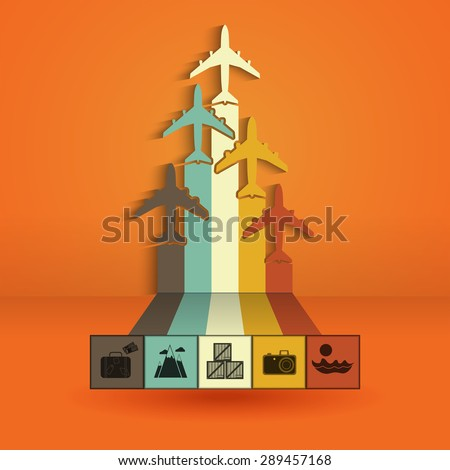 Infographics with colorful airplanes. Statistics trips, air travel, cargo flights, vacation and tickets. Vector illustration - stock vector