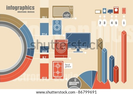 infographics with electronic devices - stock vector