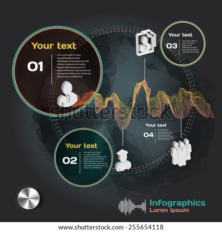 infographics with sound waves on dark background with business team - stock vector