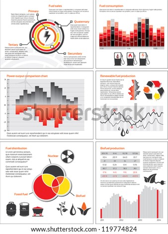 Infographics with statistics and charts for energy and fuel consumption - stock vector