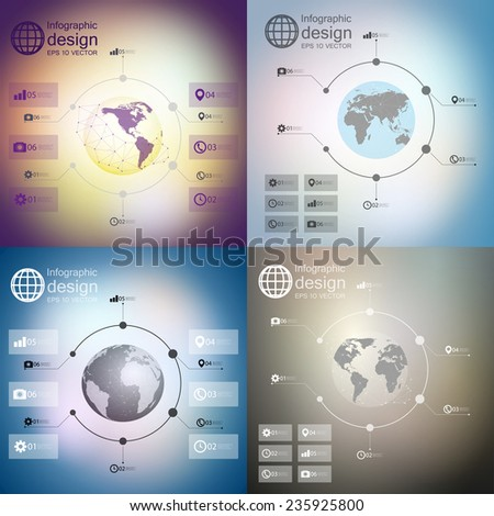 Infographics with unfocused backgrounds and icons, set for business design vector - stock vector