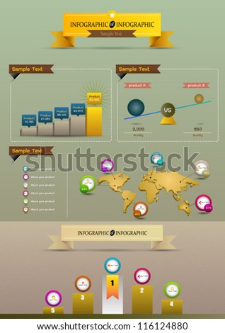 Infographics world graph - stock vector