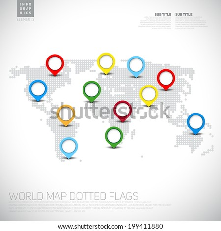 Infographics World map from dots with pointer marks, communication concept - stock vector