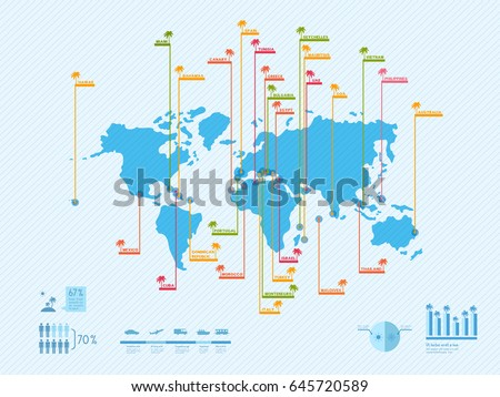 Infographics world map location beaches hawaii vectores en stock infographics world map with location of the beaches hawaii bahamas spain greece gumiabroncs Image collections