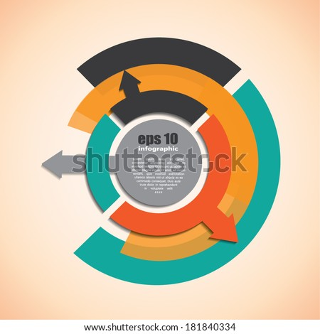 Inforgraphic background - circles and arrows - stock vector