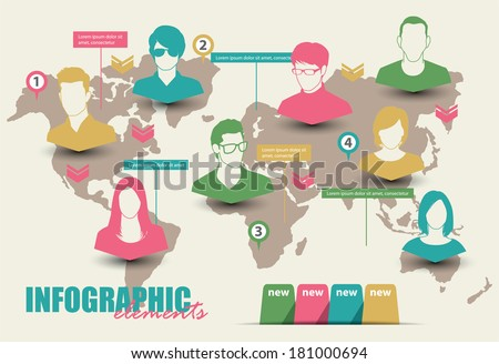 Inforgraphic with group of people - stock vector
