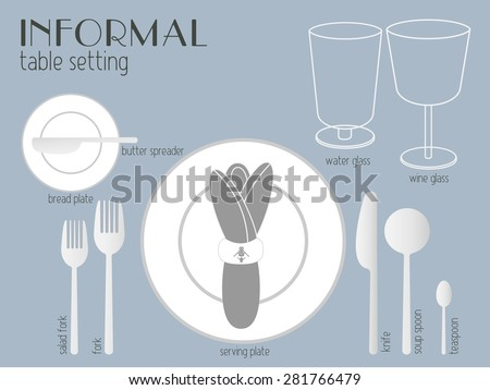 INFORMAL TABLE SETTING White And Clear Tableware And Eating Utensils Are  Set At The Table For