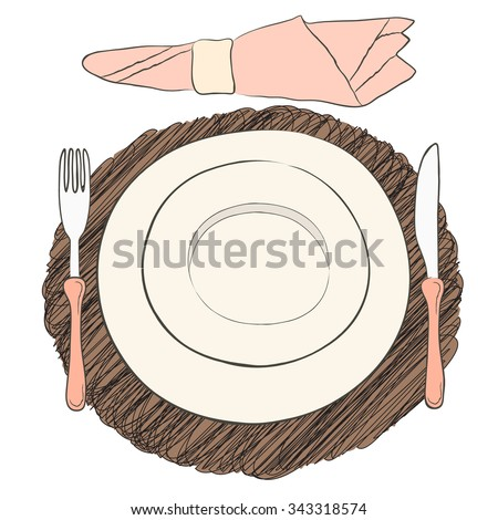 Informal vector table setting. Tableware and eating utensils are set at the table for serving. Simply style place setting or table setting or laying a table) are for casual dining. - stock vector
