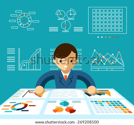 Information analysis. Monitoring economy, manager and progress and productive, vector illustration - stock vector