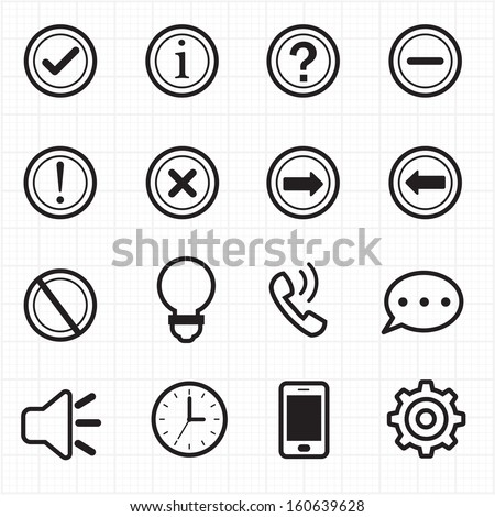 Information and Notification icons - stock vector