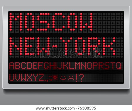 Information board. Letters and digits set - stock vector