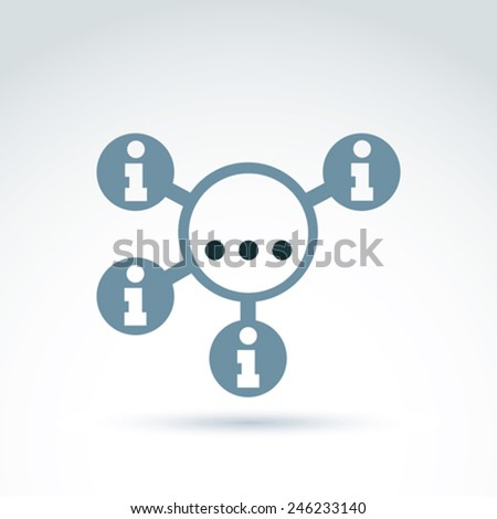 Information collecting and exchange theme icon, vector conceptual unusual symbol for your design. - stock vector