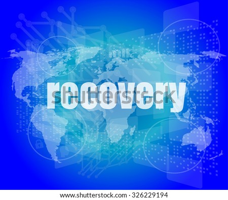 Information concept: word recovery on digital background vector illustration - stock vector