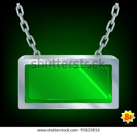 Information Display Panel lifted with a chains. - stock vector