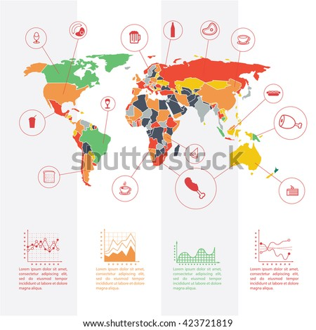 Information graphics design element world map stock vector information graphics design element and world map illustrated map with these grocery preferences or visual gumiabroncs Images