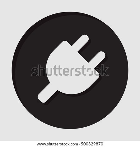 information icon - black circle with white electrical plug symbol and shadow