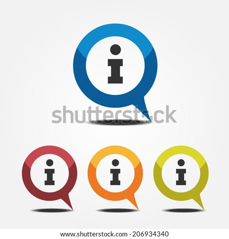 Information icon inside pointer flat style - stock vector