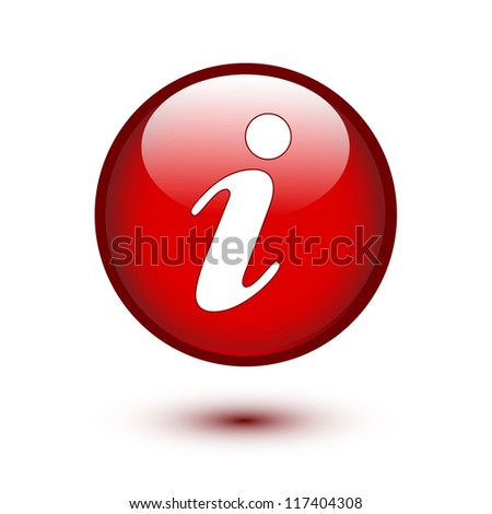 Information icon on red button - stock vector